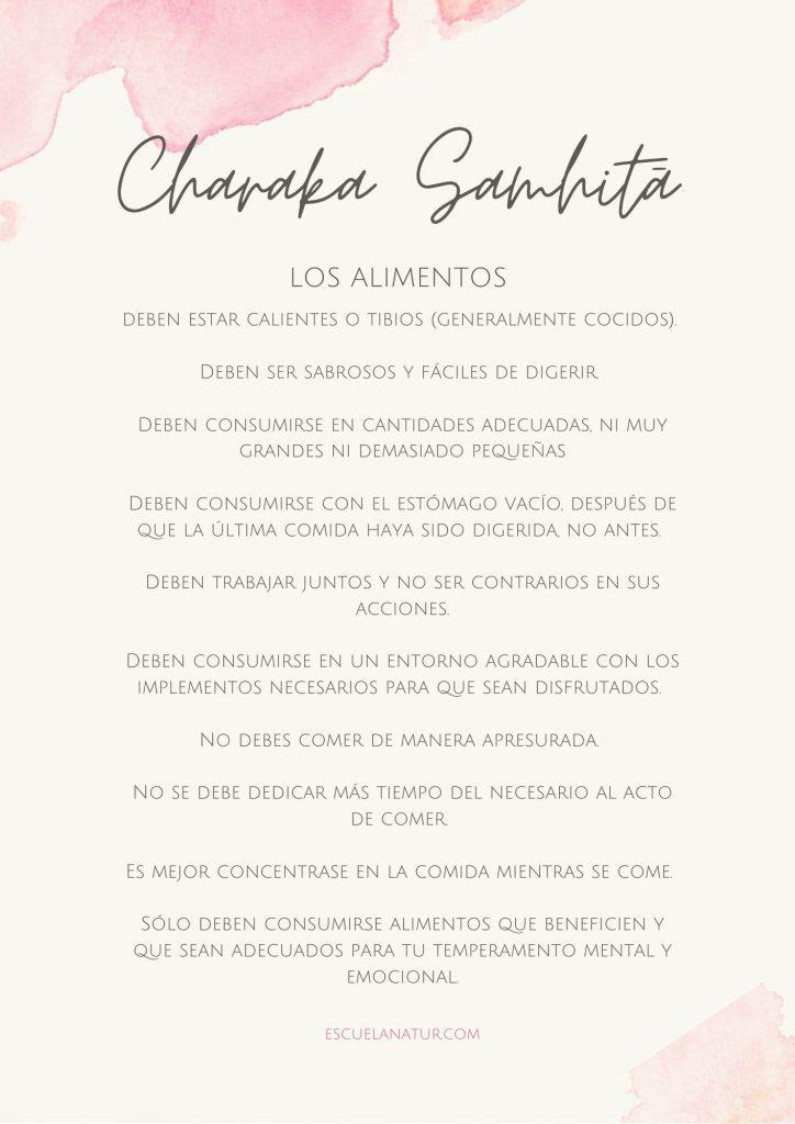 Charaka Samhita - los 10 mandamientos de los alimentos